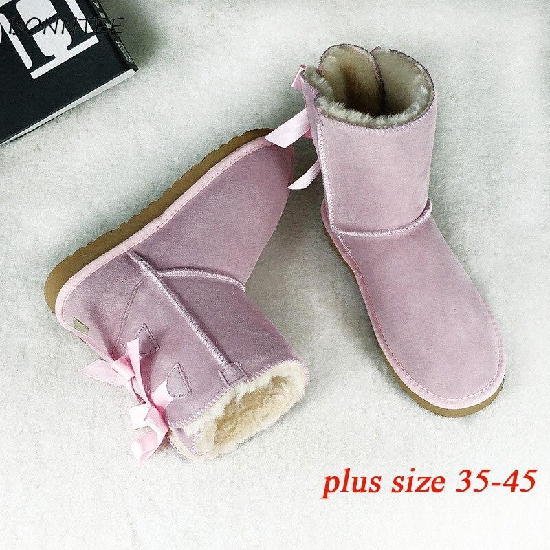 Женские ботинки на меху, теплые модные зимние ботинки из толстого плюша в австралийском стиле, большие размеры 45, зимние студенческие повсе...