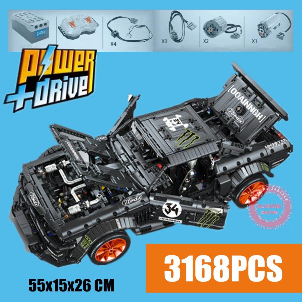 MOC RC モータ電力機能フォードマスタング Hoonicorn フィット Legoings テクニックスーパーレーシングカー MOC 22970 ビルディングブロックレンガのおもちゃ  グループ上の おもちゃ & ホビー からの ブロック の中 1
