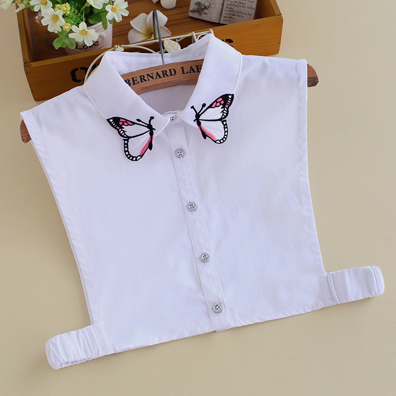 Butterfly Embroidery Fake Collar Blouse Wild Fake Collar Winter New White Sweater Decorative Collar