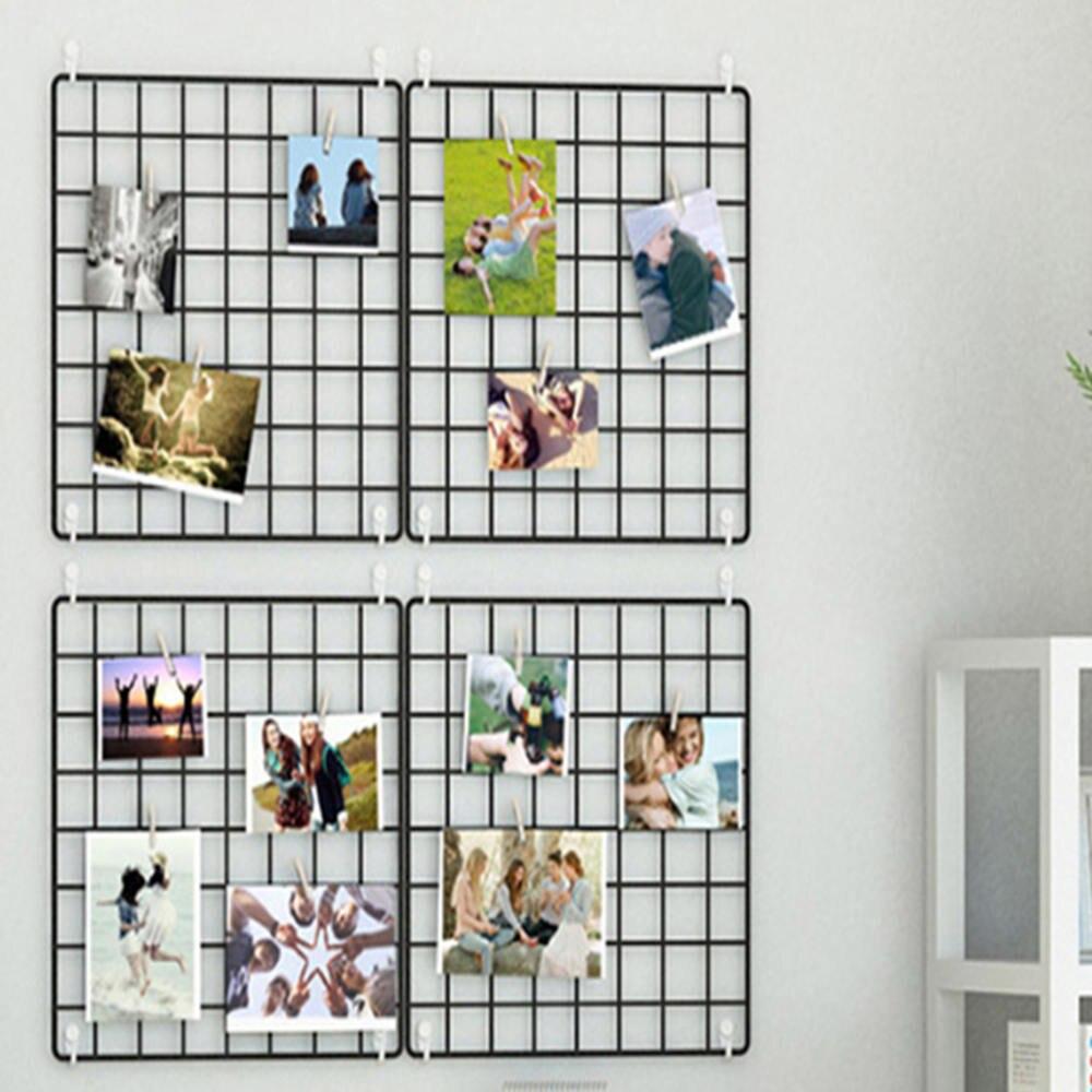 20x20cm Nordic Metal Mesh Grid DIY Wall Photos Postcards Wall Art Display Mesh Organizer Pictures Frame Holder Home Decor