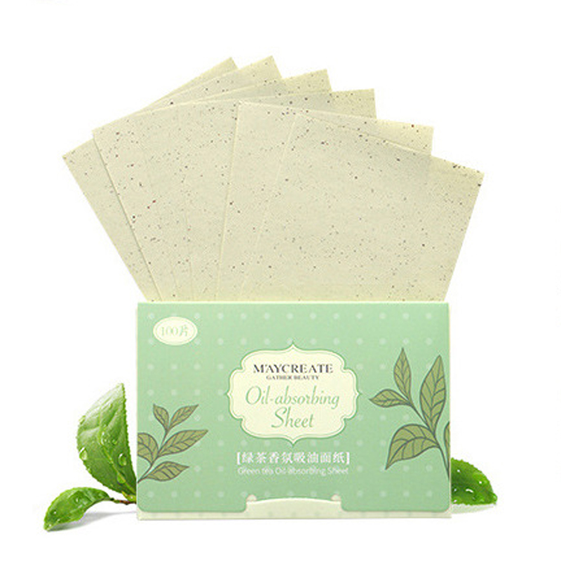600pcs/6bag Face Oil Blotting Paper Green Tea Matting Face Wipes Face Cleanser Oil Control Tissue Papers Skin Care Cleaning Tool