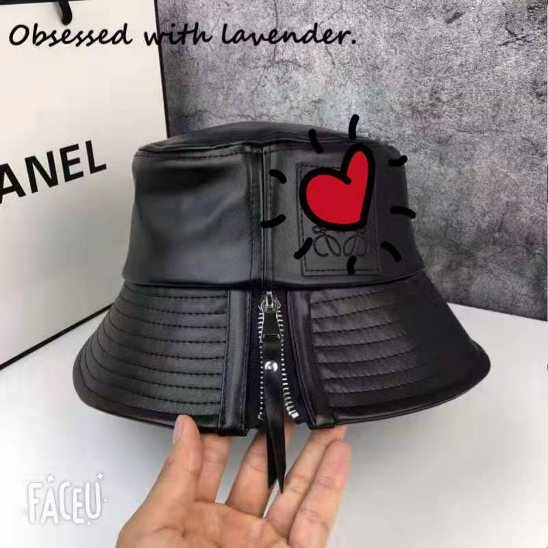 Obsessed With Lavender.Pot Hat Zipper Flat Top Fisherman Hat Pu Leather Hat Autumn Japanese Shopping Japanese Korean