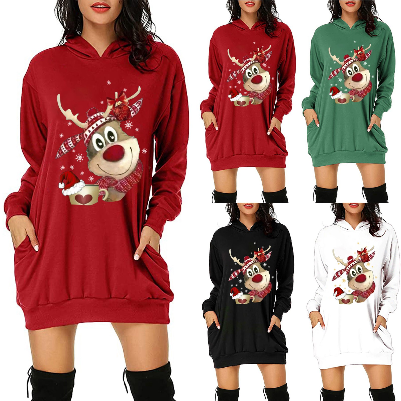 vestido de mujer Women s Fashion Christmas Hoodie Bag Hip Pocket Print Hoodie Fashion Dress femme
