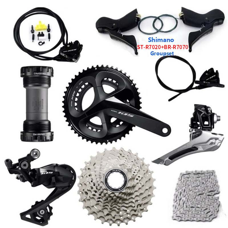 <font><b>shimano</b></font> <font><b>105</b></font> ST-R7020 BR-R7070 Road Disc Brake Groupset R7000 Derailleurs ROAD Bicycle 2x11 speed 170/172.5mm 25/28/30/32/34T image