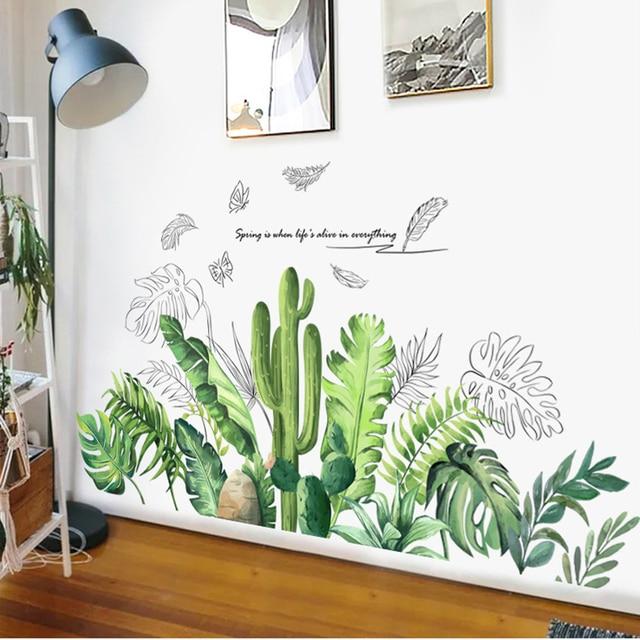 Bâton Tropical Cactus vert plante feuilles mur bordure décoration salon coin décor amovible vinyle Mural art stickers