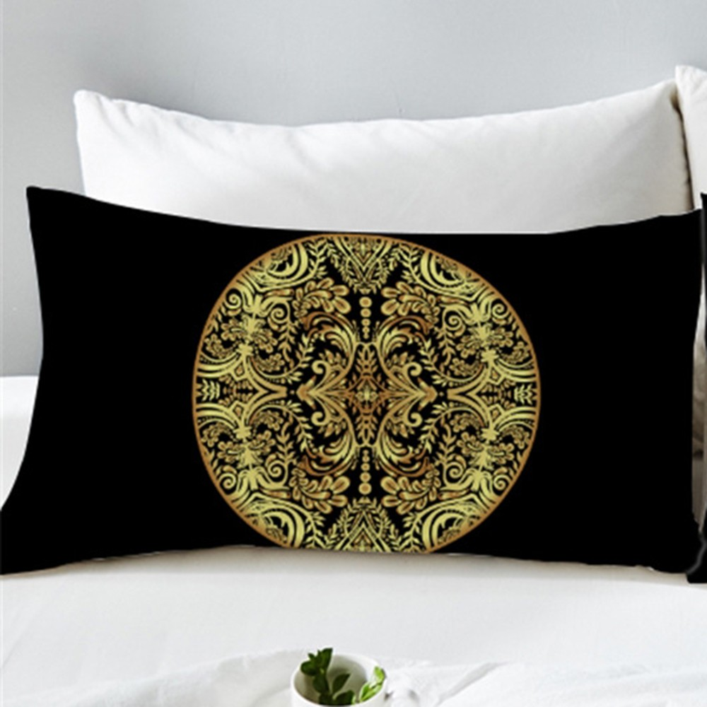 2PCS 50x75cm <font><b>50x90cm</b></font> New Gilt Flower Circular Home Textile Golden Mandala <font><b>Pillow</b></font> <font><b>Case</b></font> Pillowcase Fashion <font><b>Pillow</b></font> Cover image