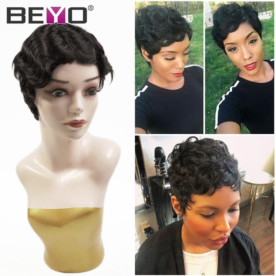 Brazilian Pixie Cut Wig Finger Wave Short Human Hair Wigs Pre Plucked Glueless Full Machine Wigs For Women Beyo Brown Remy Wig
