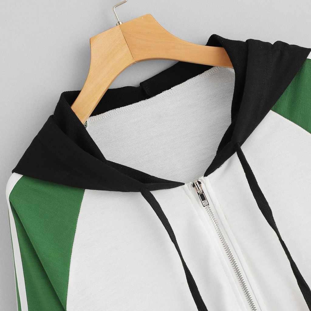 Bezpłatne strusia płaszcz kobiety Colorblock kurtka z kapturem biały z długim rękawem duży rozmiar luźne moda 2019 nowa jesień zima płaszcz kobiety