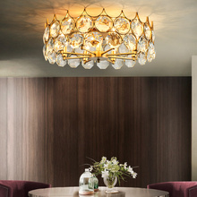 Modern crystal ceiling lamp round living room decoration American hollow design bedroom