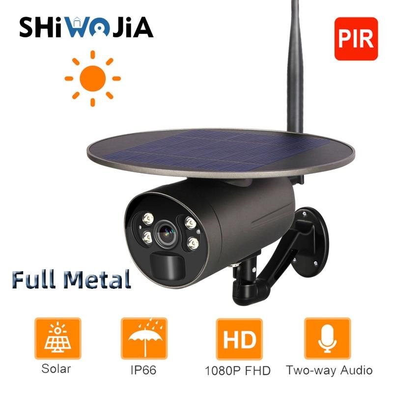 SHIWOJIA Solar Camera Wifi IP Full Metal Outdoor IP66 PIR Video Surveillance Camera Wireless Battery