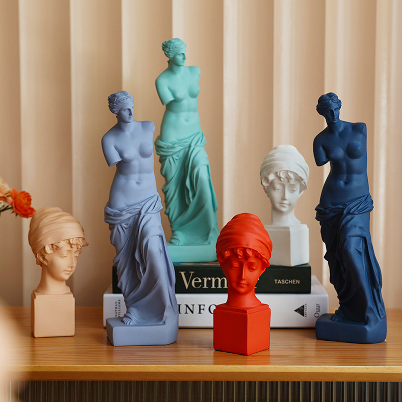 Nordic Home Decoration Resin Sculpture Room Decoration Character Statue Model Modern Abstract Color Head Creative Desktop Crafts