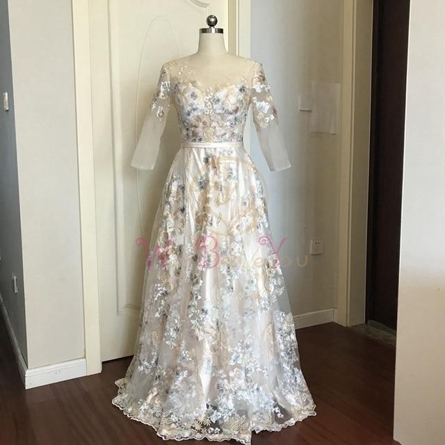 Floral Prom Dresses Walk Beside You Lace 3/4 Sleeves A-line Champagne Belt Empire Waist Long Evening Gowns Vestido De Formatura 3