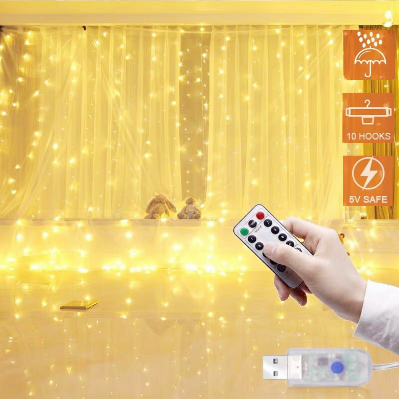 3M LED Fairy Lights Garland Curtain Lamp Remote Control USB String Lights For New Year Christmas Party Garden Home Wedding Decor