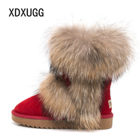 2020 New Fashion Big Fox Fur Woman Snow Boots Lady Winter Boots Genuine Cowhide Leather Mid calf Warm Boots Women Boots Shoes