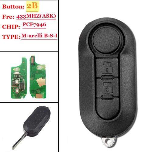 2 Button Remote Key Fob 433MHz ID46 For Fiat 500L MPV Ducato For Citroen Jumper For Peugeot Boxer 2008-2015 RX2TRF198 No Mark