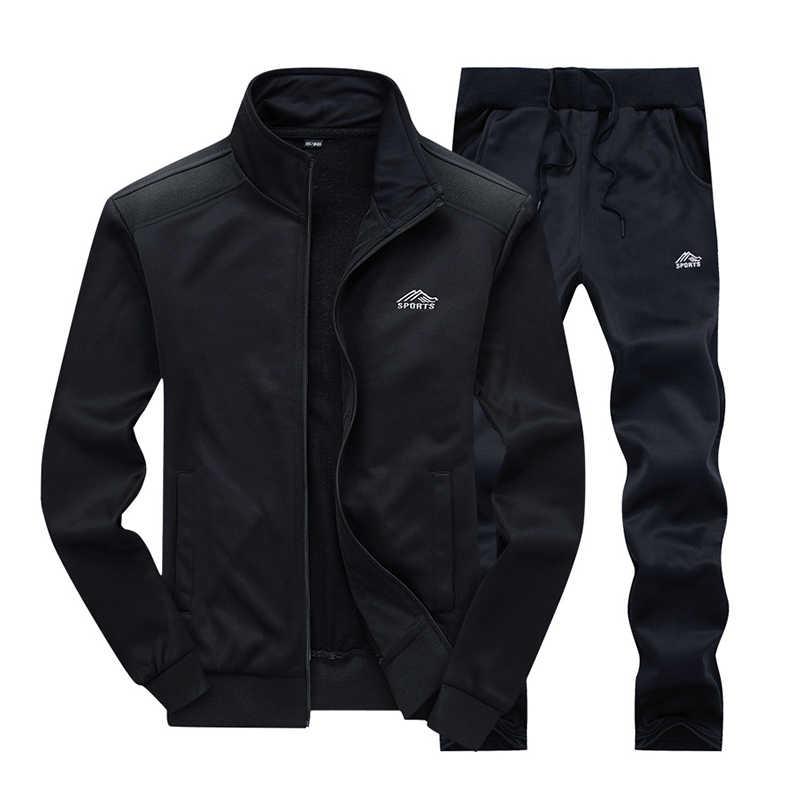 الرجال مجموعة ملابس رياضية العلامة التجارية رجالي رياضية الرياضية اللياقة البدنية الملابس قطعتين طويل الأكمام سترة + السراويل عارضة الرجال بذلة رياضية