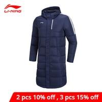 Li-Ning Men Training Long Down Hooded Coat Detachable Hood 70%White Duck Down li ning LiNing Winter Sports Jacket AYMN075 MWY316