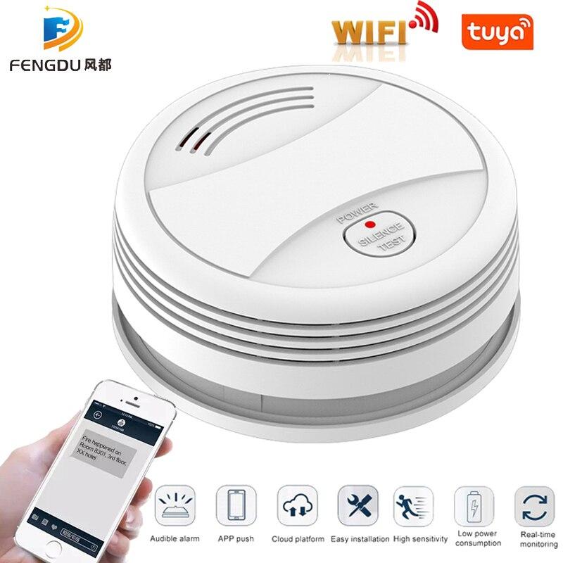 Tuya App Smoke Detector Wifi Phone Push Fire Protection Sensor Independent Smoke Alarm Fire Alarm Wifi Rookmelder Wifi Wireless