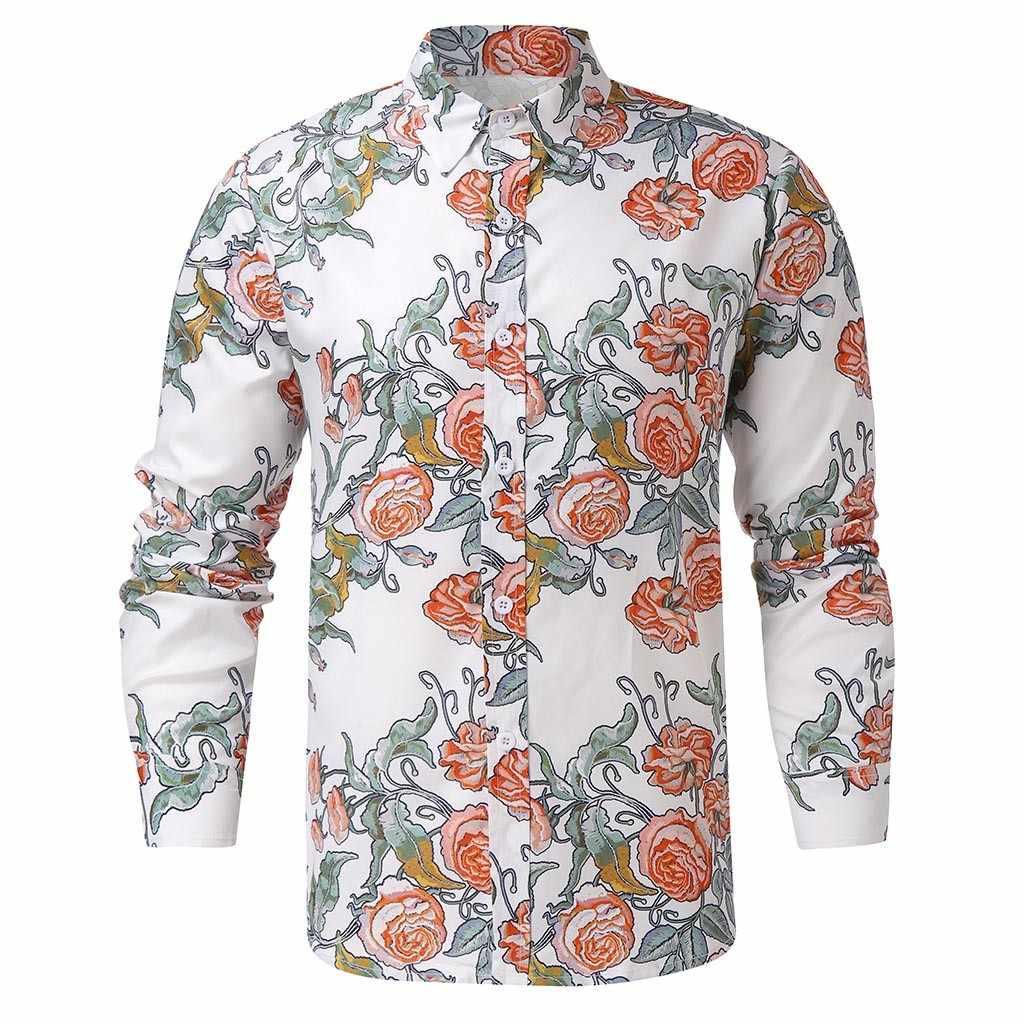 Chemises hommes 남자 셔츠 꽃 인쇄 턴 다운 칼라 빈티지 긴 소매 Camisa 민족 스타일 느슨한 캐주얼 셔츠 남자