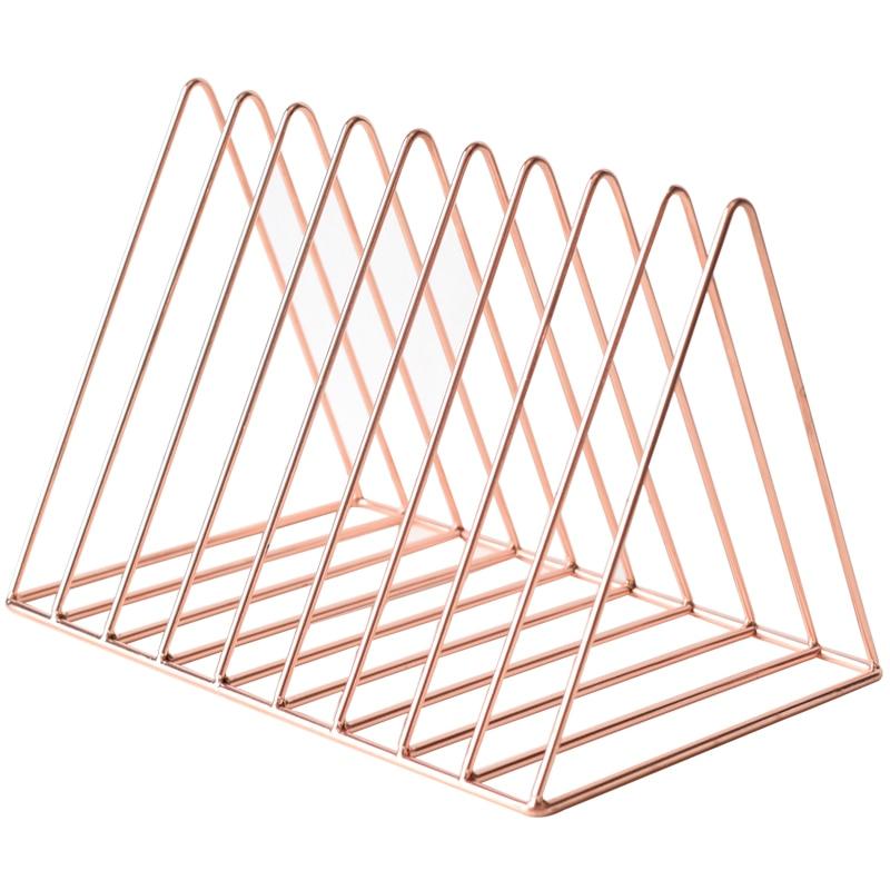 Bookshelf Iron Geometry Newspapers And Magazines Storage Rack Home Decor Shelf - Rose Gold