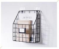 Wrought iron bookshelf Simple hanging frame wall grid shelf creative magazine holder mail organizer