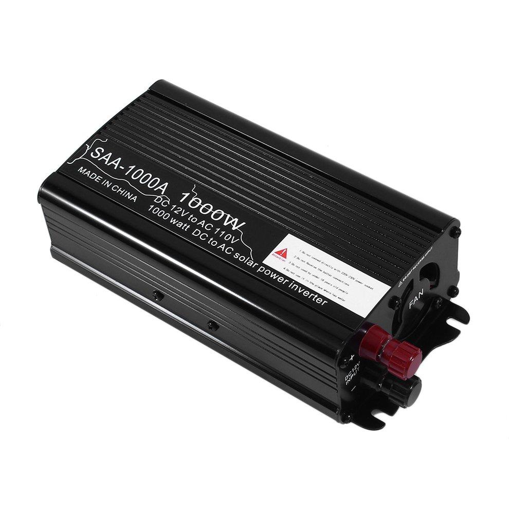 Overload Protective 1000W Aluminum Alloy DC12V To AC110V Car Power Inverter Charger Converter Transformer Black