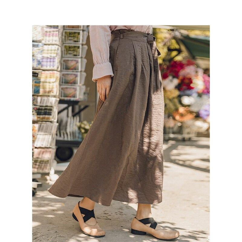 INMAN Spring Autumn Bottom Korean Fashion Viscose Fibre Blending Fold lace-up Pure Color Vintage Elegant Office Style Long Skirt
