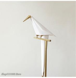 Image 2 - Vogel Papier Boden lampe Nordic gold boden licht Schlafzimmer wohnzimmer origami licht Studie Lesen tisch lampe Deco Leuchte