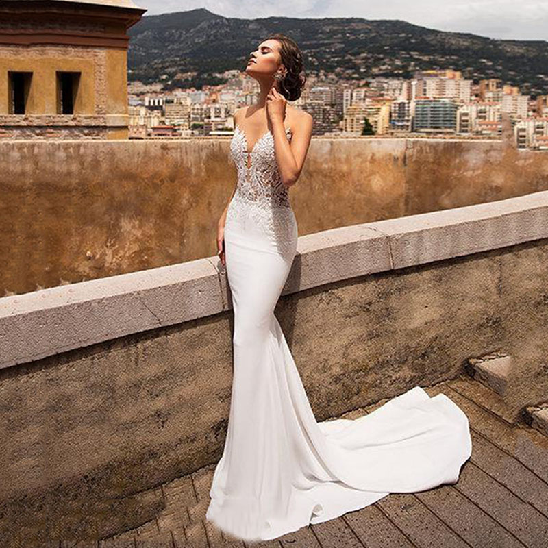 Sexy Mermaid Wedding Dresses For Women V Neck Lace Appliqued Backless Beach Wedding Bridal Gowns Vestidos De Novia