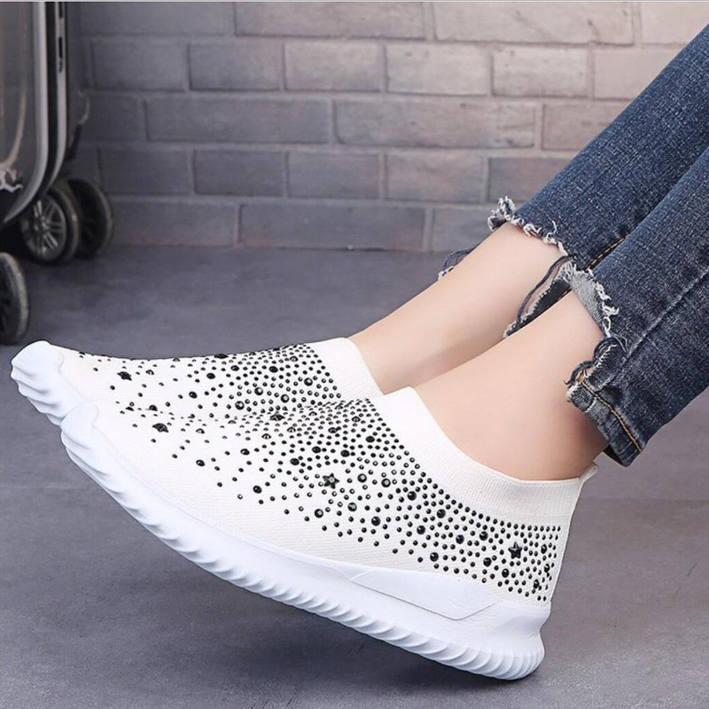 Unif Flats Sneakers Crystal Fashion Bling Sneakers Casual Slip On Sock Trainers Winter Women Vulcanize Shoe Zapatillas Mujer