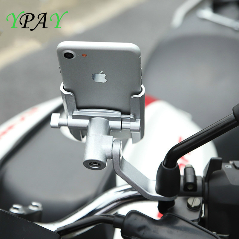 YPAY Motorcycle Mountain Bicycle Phone Holder Aluminum Adjustable Motorcycle Handlebar Rearview Mirror 4-6.5inch Cellphone Mount