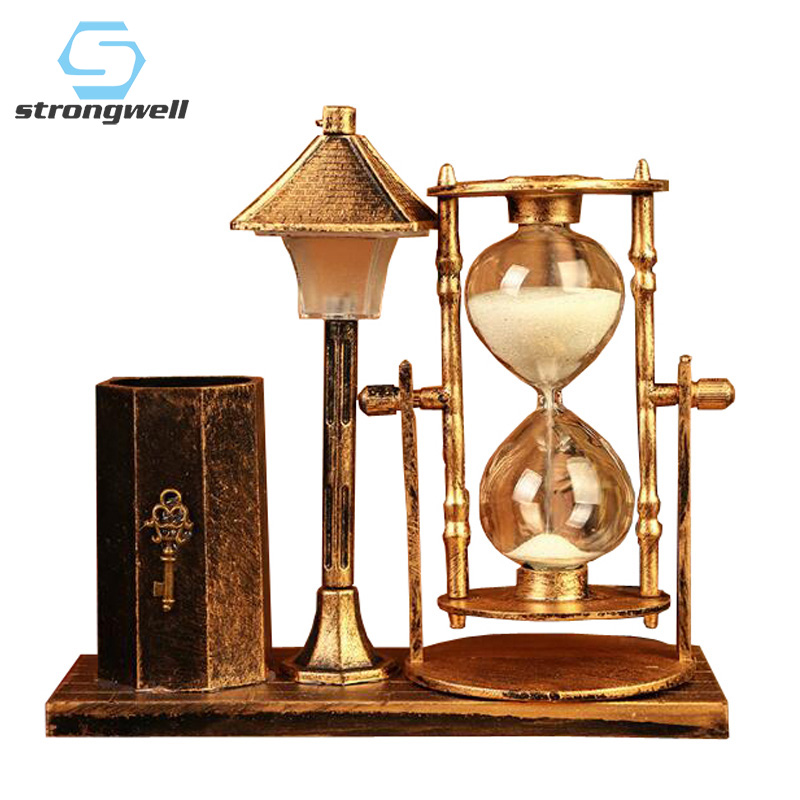Strongwell European Retro Pen Holder Hourglass Multifunction Night Light Crafts Home Decoration Accessories Ornaments Desktop