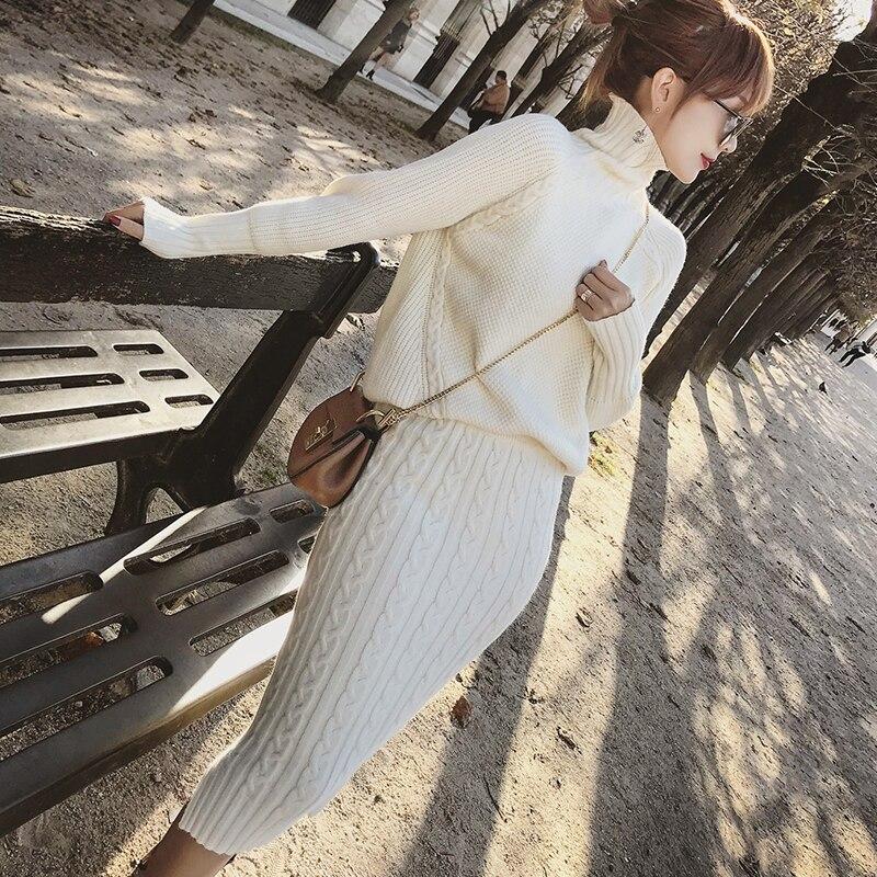 Twist Knitted 2 Piece Set Women Long Sleeve Turtleneck Pullover Sweater + Split Pencil Skirt Set Lady Runway Knitting Skirt Suit