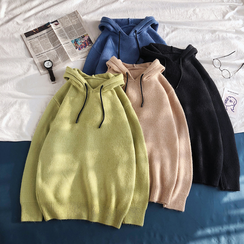 Autumn Hooded Sweater Men Fashion Solid Color Casual Knit Sweaters Man Streetwear Wild Loose Pullover Men Sweter Male Clothes