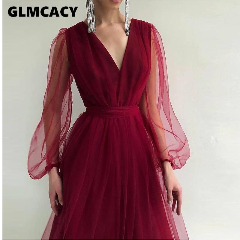 Women Mesh Long Sleeve Plunge Neck Dress Elegant Maxi Solid Formal Evening Party Dress