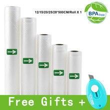 Vacuum Heat Sealer Food Fresh Saver Bag Rolls Food Storage Bags Saran Wrapper Flim Kitchen Packaging Tool 500CM/Roll