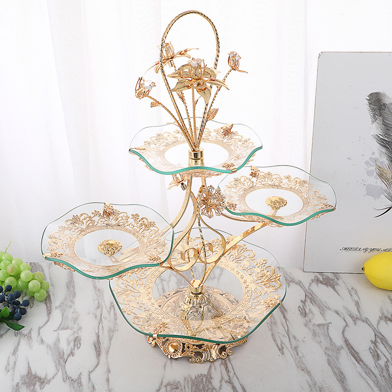 new light luxury style creative family living room hotel tea table crystal fruit plate multilayer European fruit plate wholesale