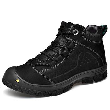 2020 mężczyźni buty jesień zima buty turystyczne buty za kostkę zasznurować buty Casual buty na co dzień mężczyźni buty zimowe buty ocieplane tanie i dobre opinie CHAXICHEN Podstawowe CN (pochodzenie) Prawdziwej skóry Skóra bydlęca ANKLE Stałe Krótki pluszowe Skóra licowa Okrągły nosek