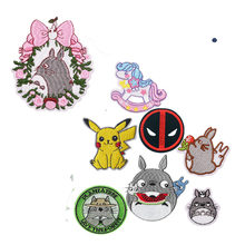 1PCS New Arrival Pikachu Totoro Horse Animal Iron On Patches Embroidered Cloth Applique Badge Children DIY accessory(China)