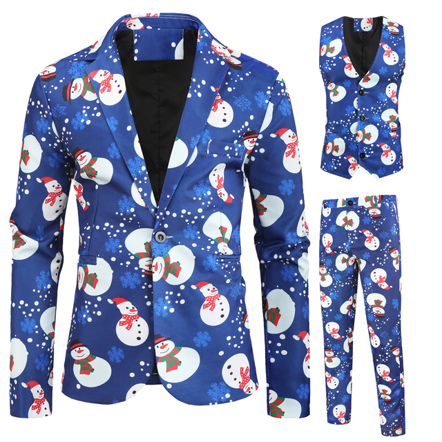 Mens Fashion Casual New Snowman christmas Printing Long Sleeve Wedding Party Streetwear Fashion Casual Print  3 pieces Suit