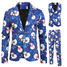 Moda masculina casual novo boneco de neve natal impressão de manga longa festa de casamento streetwear moda casual impressão 3 peças terno