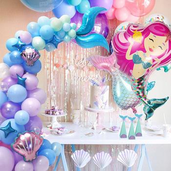 Dziewczyna syrenka balony na imprezę ogon syreny Garland niebieskie fioletowe balony lateksowe z muszlą na Baby Shower pod balonami imprezowymi tanie i dobre opinie cyuan CN (pochodzenie) Zwierzę kreskówkowe ROUND Ślub i Zaręczyny Chrzest chrzciny do ujawnienia płci przyjęcie urodzinowe