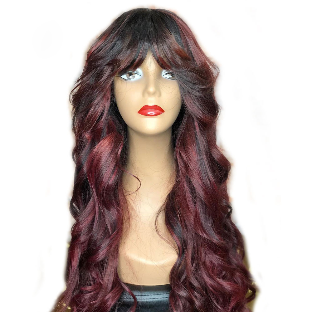 Eversilky Fringe Wig Full Lace Human Hair Wigs With Bangs PrePlucked Burgundy Body Wave Peruvian Remy 1b99j Ombre Wig For Women