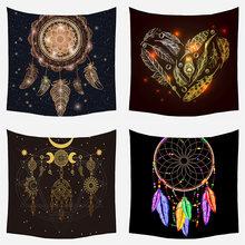 Dreamcatcher impressão tapeçaria estilo indiano pumo penas poliéster mandala tapeçaria parede pendurado boêmio decoração mistério bruxaria