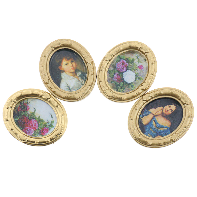 1 PC 1:12 Dollhouse Miniature Framed Wall Painting Home Decor Room Items Novelty Funny Gifts Baby Kids Toy