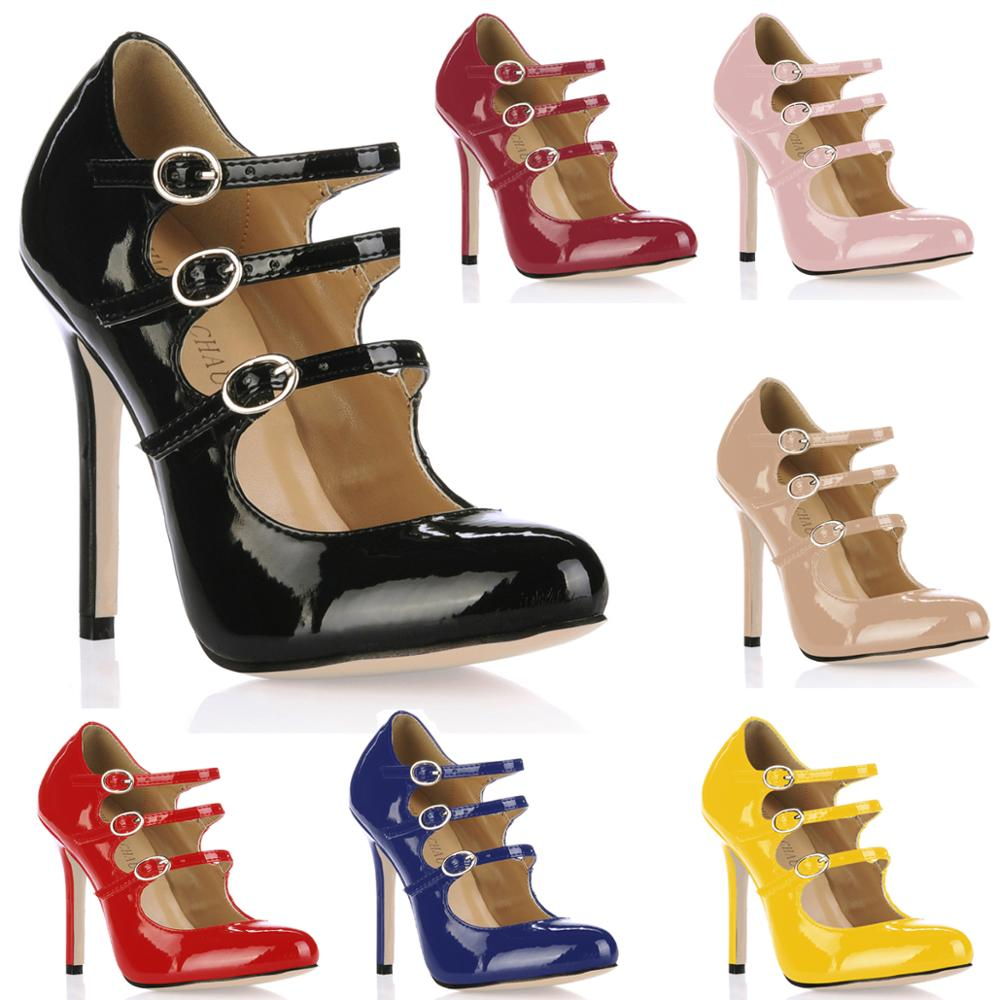 CHMILE CHAU Patent Sexy Party Shoes Women Round Toe Stiletto High Heel Straps Lady Pumps Zapatos Mujer Chaussure Talon 0640C-b1