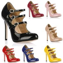 2017 New Black White Sexy Party Shoes Women Round Toe Thin Super High Heels Buckle Strap Rome Lady Pumps Zapatos Mujer 0640C-b1 stylesowner 2018 new arrival soft genuine leather women pumps sexy buckle strap pointed toe super high thin heels party shoes