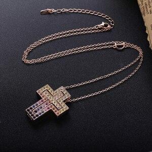 Image 5 - Женская Длинная цепочка из розового золота с кристаллом D Leter, ожерелье с подвеской из фианита ААА, роскошное ювелирное изделие из стерлингового серебра 925 пробы