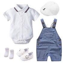 Летняя одежда для новорожденных, комплект для мальчиков, пижама, платье на день рождения белого цвета, одежда для маленьких детей, шляпа + де...