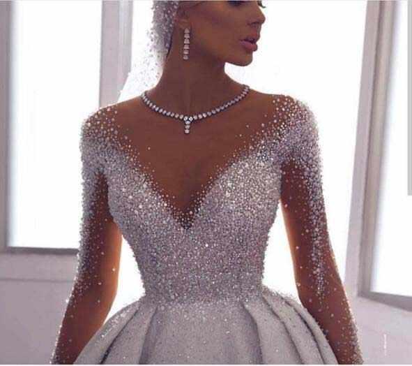 יוקרה Vestidos חרוזים קריסטלים ערבית חתונה שמלת 2020 ארוך שרוולי דובאי שמלות כלה לקיר robe דה mariee